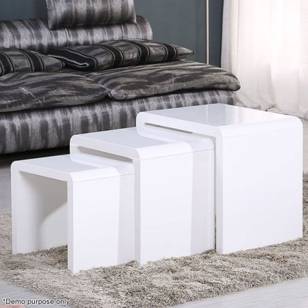 Voilamart 3 stackable nesting tables set with high gloss side voilamart 3 stackable nesting tables set with high gloss side espresso coffee bed sofa snack watchthetrailerfo