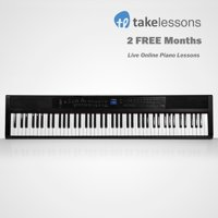 Artesia PE-88 88-Key Digital Piano with Power Supply, Sustain Pedal & 2 Months of Free Live Online Piano Lessons from TakeLessons