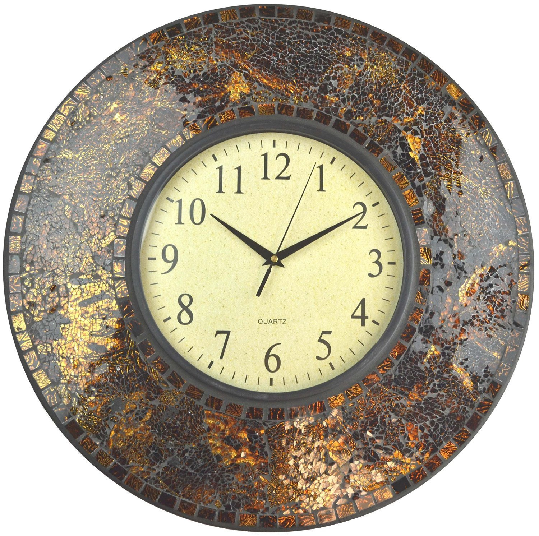 "Lulu Decor, 19"" Amber Crush Mosaic Wall Clock, Glass Dial, 4.50"" Mosaic Border, Dial 9.5"", Silent Non-ticking Quartz"
