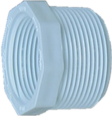 "Pvc Pressure Pipe Fitting, Reducer Bushing, White Pvc, 1-1/2 X 1-1/4"", Genova, 34354"
