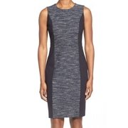 Classiques Entier NEW Black Blue Tweed Panel Women's 14 Sheath Dress