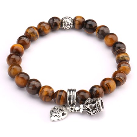 Beads Bracelet,UHIBROS Crown Heart Pendant Unisex Elastic Stretch Beaded Bracelet,Natural Agate Lava Rock Bangle