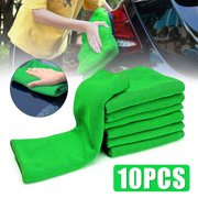 10Pcs Micro Fiber Cleaning Cloths Green Auto Car Care Detailing Microfiber Auto Duster Towel Cleaning Towels &amp Wipes Cleaning Supplies