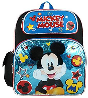 "Small Backpack - Disney - Mickey Mouse - Blue Stars 12"" New 699871"