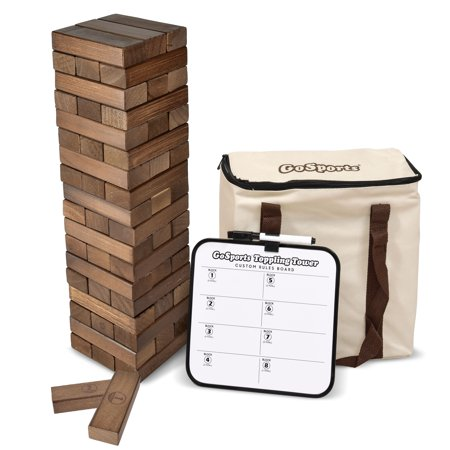 GoSports Large Dark Stain Toppling Tower with Bonus Rules Starts at 1.5' and grows to over 3' Made from Premium Brown Stained Blocks