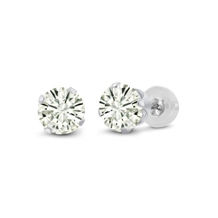 14K White Gold Earrings Forever Classic Round Created Moissanite 1.00ct DEW