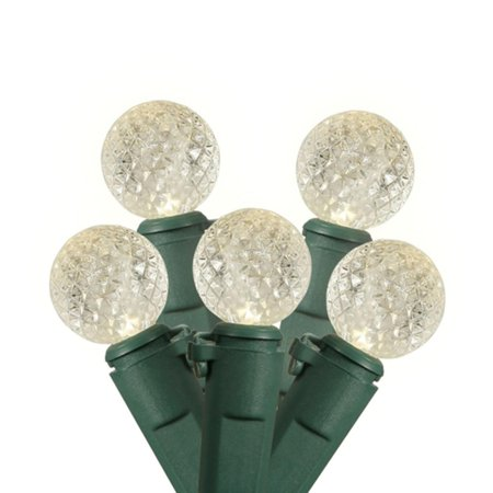 Set of 35 Warm Clear Commercial Grade LED G12 Berry Christmas Lights 6 Spacing - Green Wire