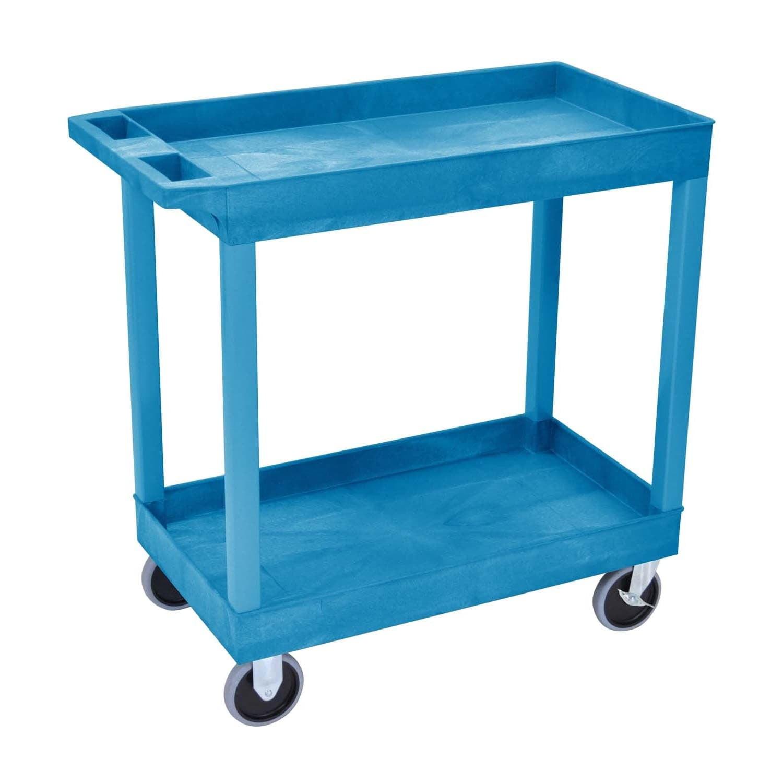 Offex  OF-EC11HD-BU 2 Tub Shelves Multipurpose Blue Storage Utility Cart