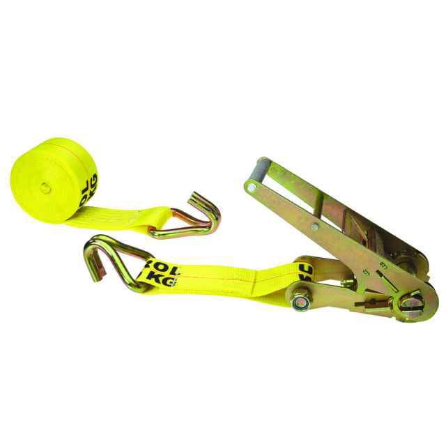 "3"" x 20' Yellow Ratchet Strap w/ Wire Hooks"