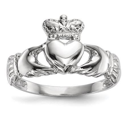 14k White Gold Polished Claddagh (White Gold Claddagh Ring)