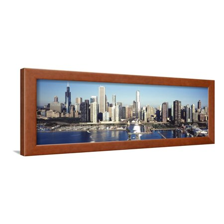 Skyscrapers in a City, Navy Pier, Chicago Harbor, Chicago, Cook County, Illinois, USA 2011 Framed Print Wall Art By Panoramic Images ()