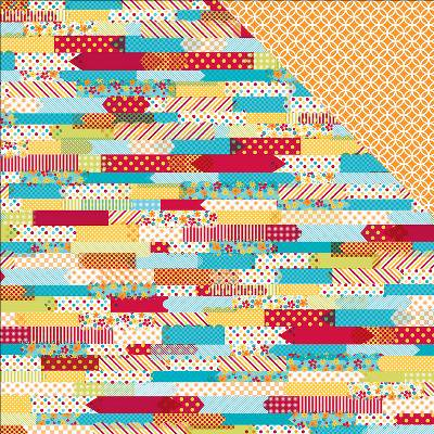 Sunshine Double Sided Cardstock 12 X12  Washi Strips Orange   White Circles