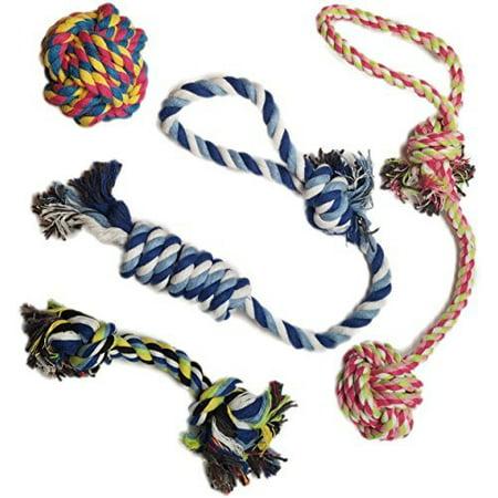 Amerteer 4 Park Dog Toys - Chew Toys - 100 Natural Cotton Rope - Rope Dog Toy - Puppy Toys - Small Dog Toys - Chew Toys - Dog Toy Pack - Tug Toy - Dog Toy Set - Tug Toy - Dog Toy (Dog Parka)