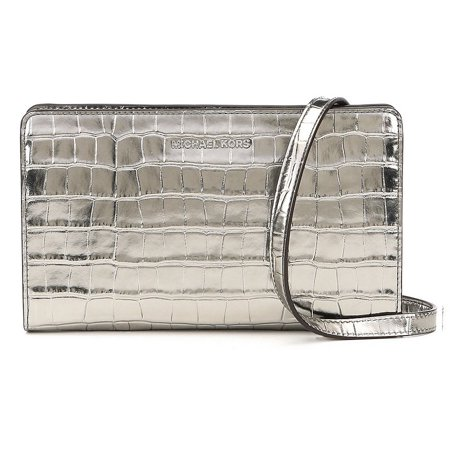 Metallic Leather Flap Clutch - Jet Set Travel Metallic Embossed-Leather - Crossbody Clutch - Gunmetal - 32F7MF5C3K-041