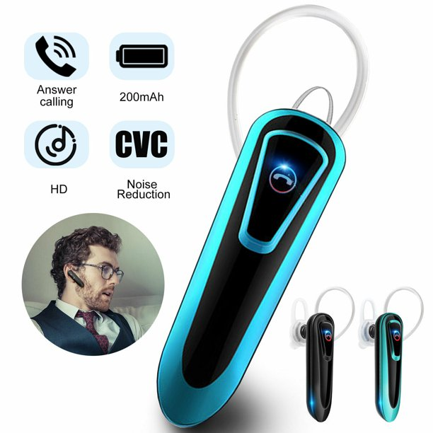 Bluetooth Headset Wireless Bluetooth Earpiece Stereo Noise Cancelling Mic Compatible For Iphone Android Cell Phones Driving Business Office Walmart Com Walmart Com