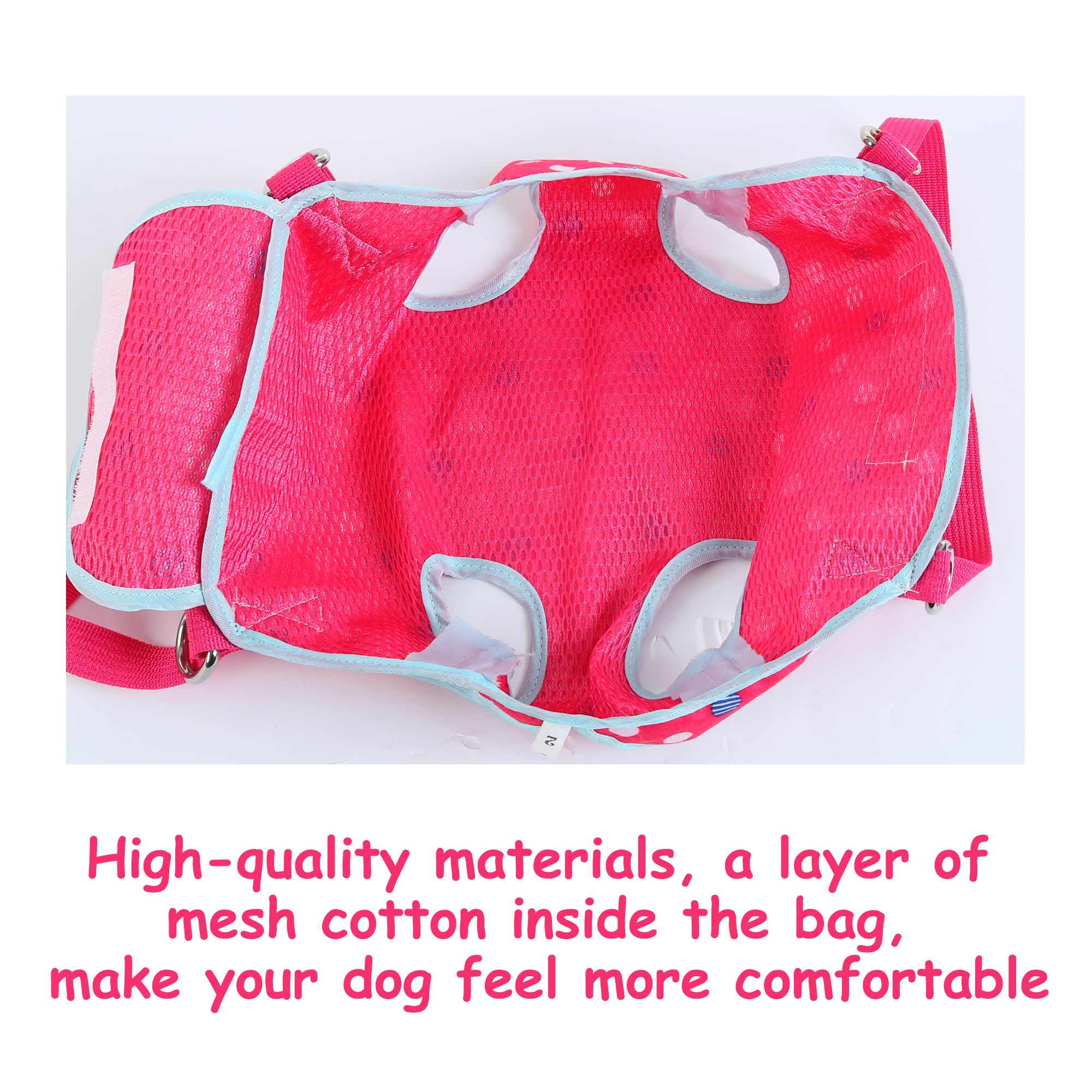Pet Carrier Backpack, Puppy Holder, Pouch Single Shoulder Carry Tote L Fuchsia - image 5 of 7