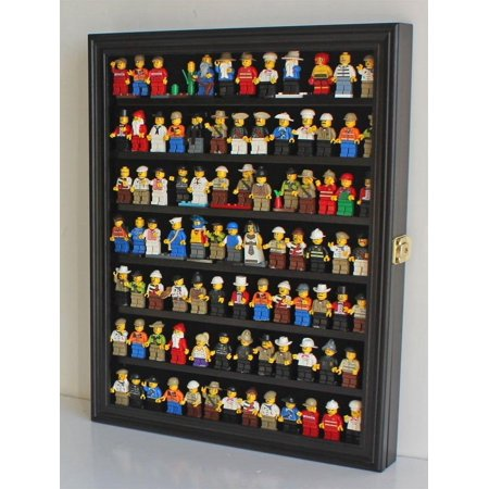 - Lego Minifigures Display Case Wall Thimble Cabinet Shadow Box, solid wood (Black Finish)