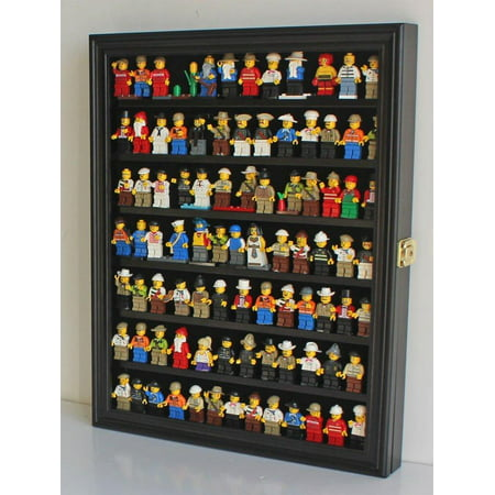 Lego Minifigures Display Case Wall Thimble Cabinet Shadow Box, solid wood (Black Finish)