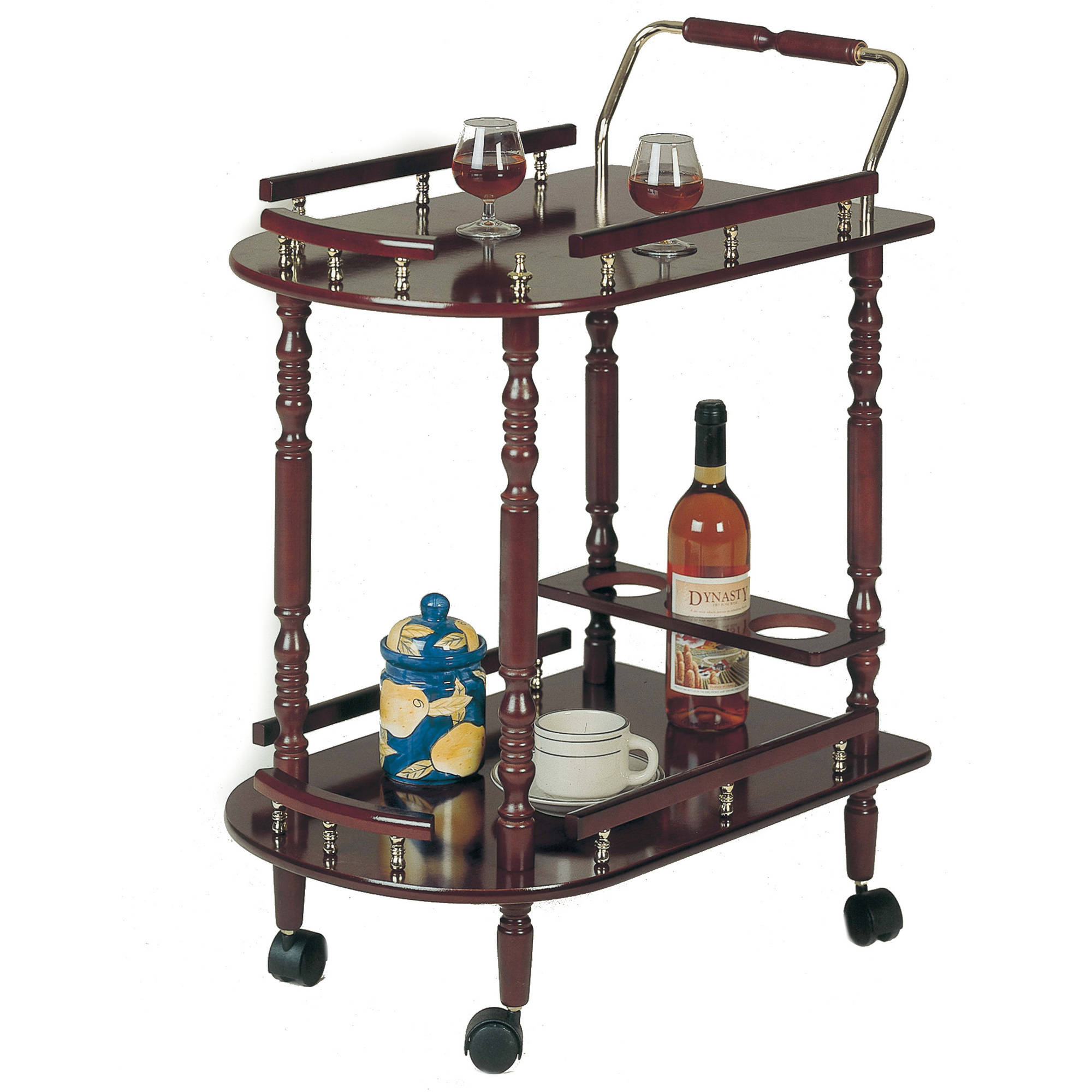 Coaster Company Serving Cart, Merlot and Brass by Coaster Company