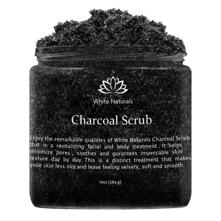 Activated Charcoal Scrub By White Naturals: Facial&Body scrub,Reduces Wrinkles,Blackheads&Acne Scars,Natural Skin Care,Face Cleanser,Pure Vegan Scrub For Skin Exfoliation And Detox ()