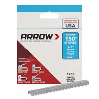 "Arrow T50 1/4"" Staples 1250 Count"