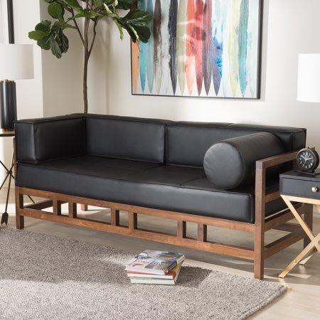 Baxton Studio Shaw Mid-Century Modern Pine Black Faux Leather Walnut Wood 2-Seater Sofa