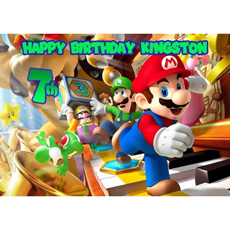 Mario Bros Nintendo Personalized Cake Topper Icing Sugar Paper A4 Sheet Edible Frosting Photo Birthday Cake Topper 1/4](Nintendo Decorations)