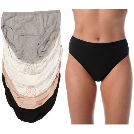Just Intimates Panties for Women, Tagless and Breathable High Cut Briefs (6 -