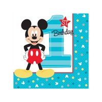 Mickey Mouse First Birthday Party Supplies 32 Pack Beverage Napkins