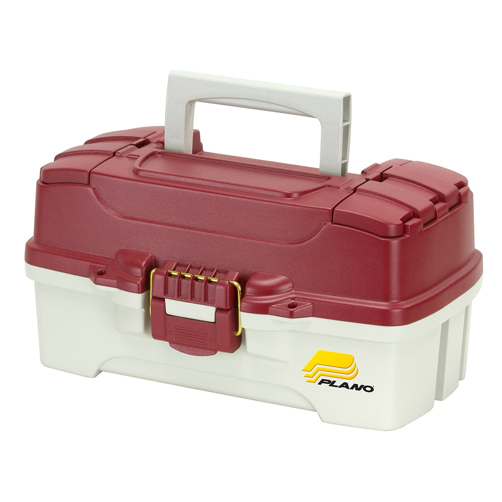 Plano Fishing 6201 One Tray Tackle Box w  Dual Top Access, Red  White by Plano Molding