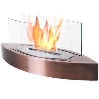 Portable Tabletop Ventless Bio Ethanol Fireplace Glass - Bronze