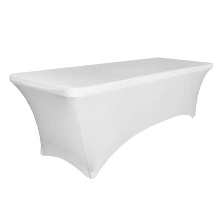 Houseables White Table Cloths, Fitted Tablecloth Cover, 6 ft, White, Rectangular Skirts, Polyester/Spandex, Elastic, Stretchable Linen, Stain & Wrinkle Proof, for Folding Tables, Wedding, DJ, Events - Fitted Table Covers