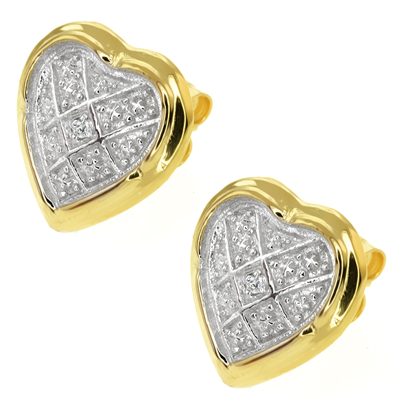 Two-Tone 925 Sterling Silver Heart Stud Earrings with Accent Diamond 16MM = 1/2""