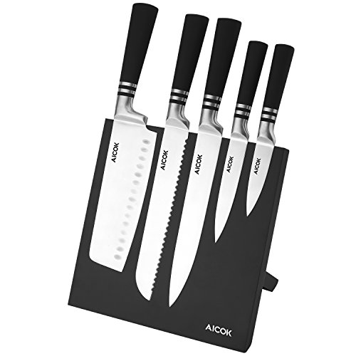 Aicok Knife Set And Magnetic Knife Holder 6 Pieces High Carbon