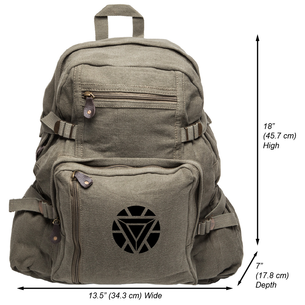 Iron Man Heart Heavyweight Canvas Backpack Bag
