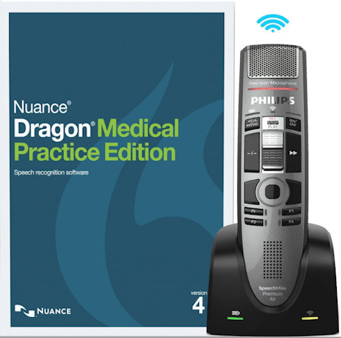Nuance 376983 Dragon Medical Practice Edition 4 - 1 License Retail Box with SpeechMike Premium Air Wireless Precision Microphone - Slide Switch Operation