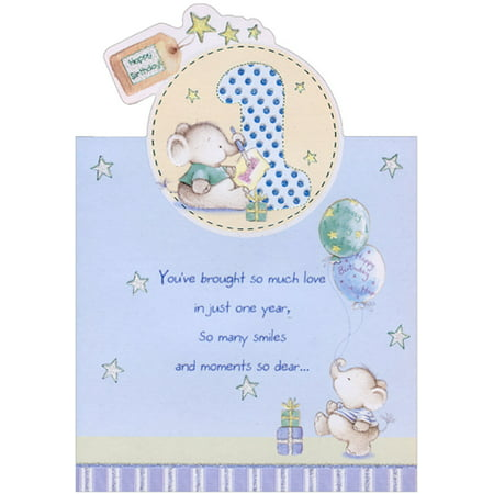 Designer Greetings Elephants with Paint Brush and Balloons Die Cut Age 1 / 1st Birthday Card for Boy - 1st Birthday For Boy