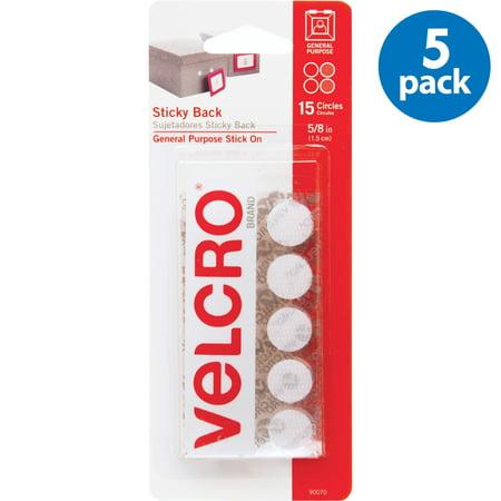 (5 Pack) Velcro Tape, 5/8in Coins, 15/Pkg., White