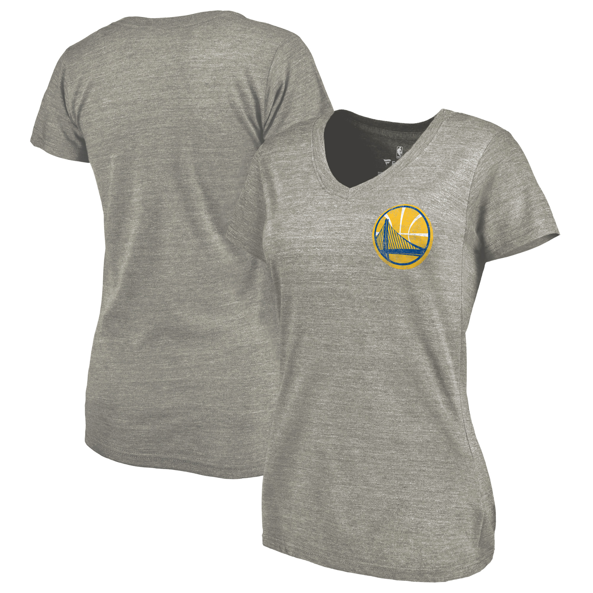 Golden State Warriors Fanatics Branded Women's Primary Logo Left Chest Distressed Tri-Blend V-Neck T-Shirt - Heathered Gray