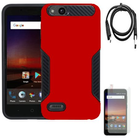 low priced 13fd1 ec744 Phone Case for ZTE Zfive G Z557BL Z558VL / Zfive C / Tempo Go / Tempo X /  Avid 4 / Avid 557 Dual-Layered Cover Screen Protector USB Cable (Hybrid ...