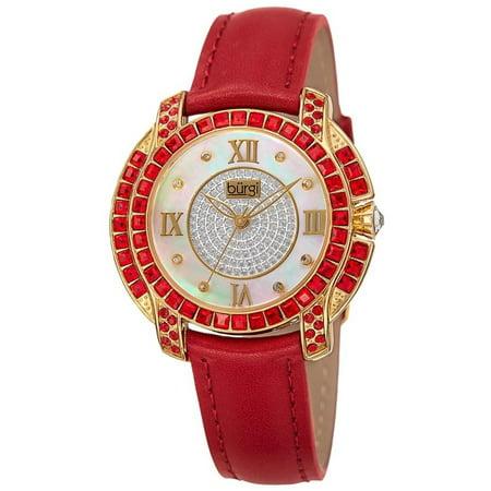 Womens Mother Of Pearl Watch - BUR156RD Swarovski Crystal Mother of Pearl Diamond Red Womens Watch