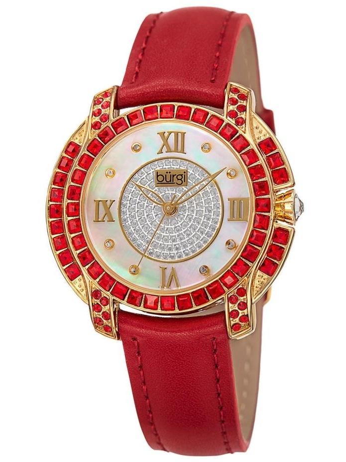 BUR156RD Swarovski Crystal Mother of Pearl Diamond Red Womens Watch