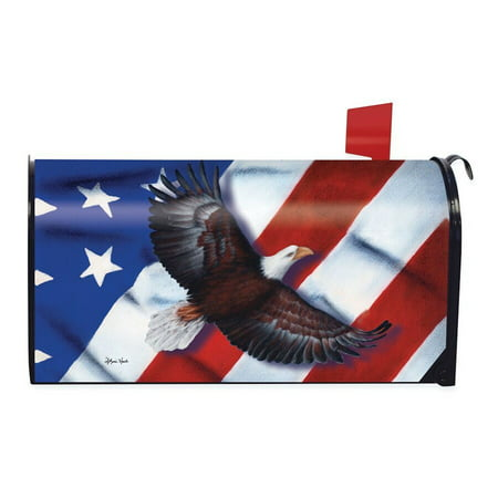 Weather Vinyl Mailbox Cover - Patriotic Eagle Magnetic Mailbox Cover 4th of July Holiday Briarwood Lane