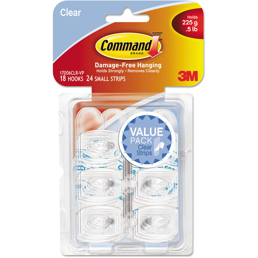 Command Clear Hooks and Strips, Plastic, Mini, 18 Hooks with 24 Adhesive Strips per Pack