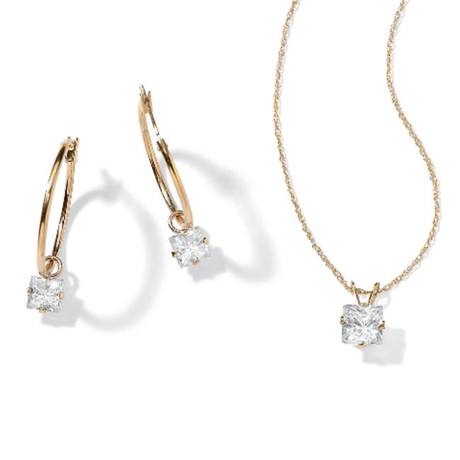 PalmBeach Jewelry 35664 2. 60 TCW Princess-Cut Cubic Zirconia 10k Yellow Gold 2-Piece Necklace and Drop Earrings Set