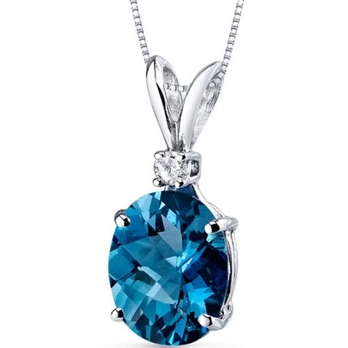 "3.00 Carat Oval-Shape London Blue Topaz and Diamond Accent 14kt White Gold Pendant, 18"""