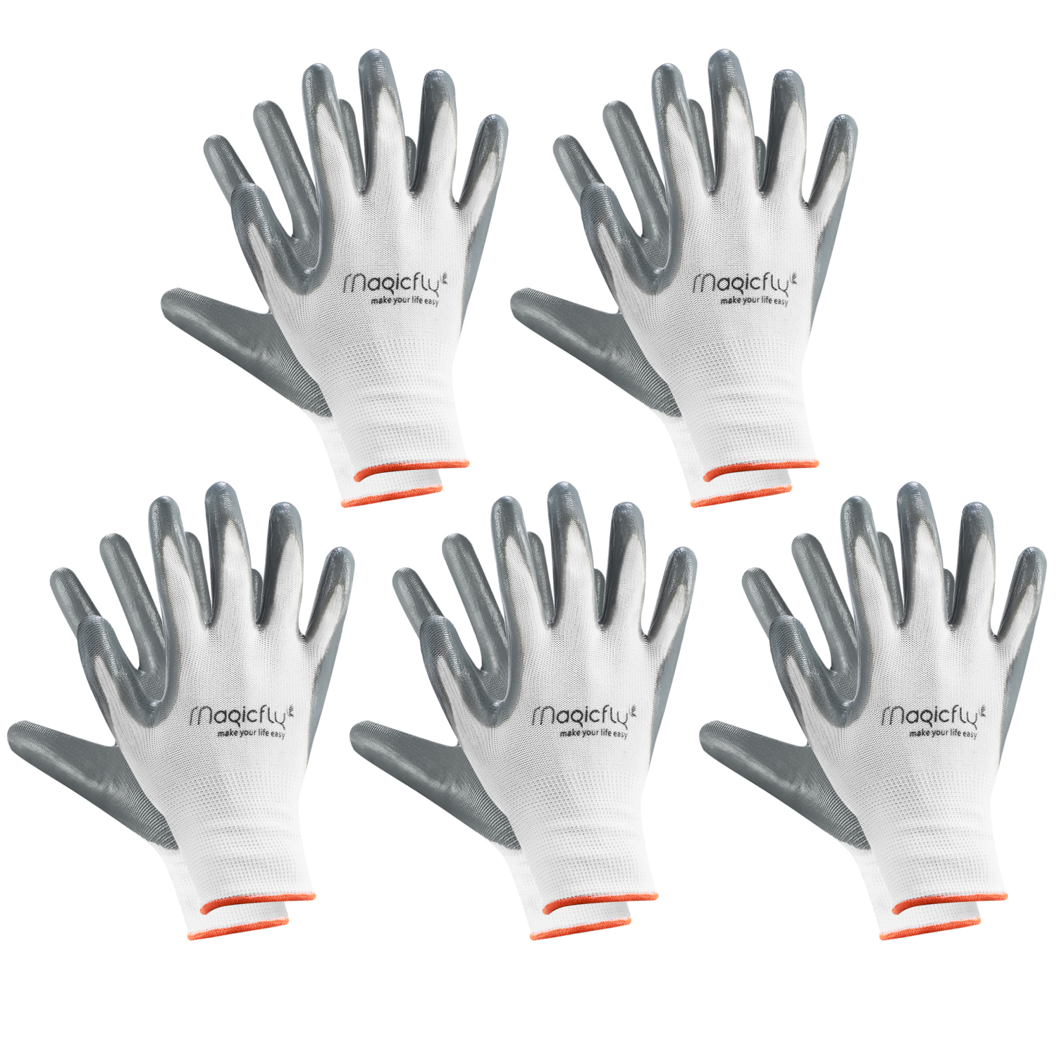 Magicfly 5 Pairs Nylon Nitrile Garden Gloves Waterproof Gardening Glove Fits Women and Men for Rose Pruning Heavy Duty