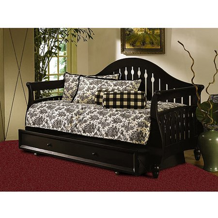 fraser twin daybed with rollout trundle distressed black. Black Bedroom Furniture Sets. Home Design Ideas
