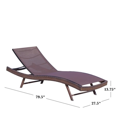 Portofino Outdoor Brown Mesh Chaise Lounge Chair Walmart