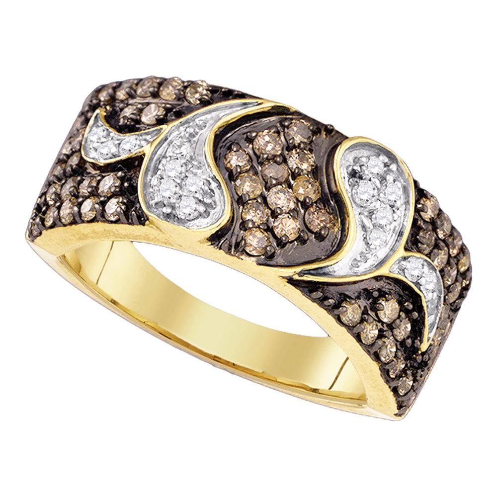 10k Yellow Gold Womens Cognac-brown Color Enhanced Diamond Cocktail Band Ring 7/8 Cttw